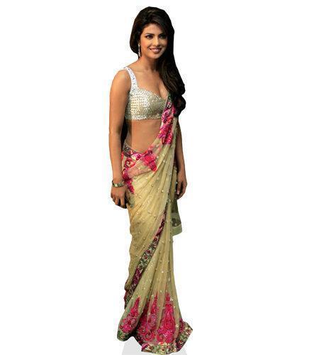 Priyanka Chopra (Sari) lebensgroßer Pappaufsteller