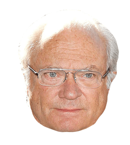 King Carl Gustaf Of Sweden Maske aus Karton