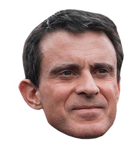 Manuel Valls Maske aus Karton